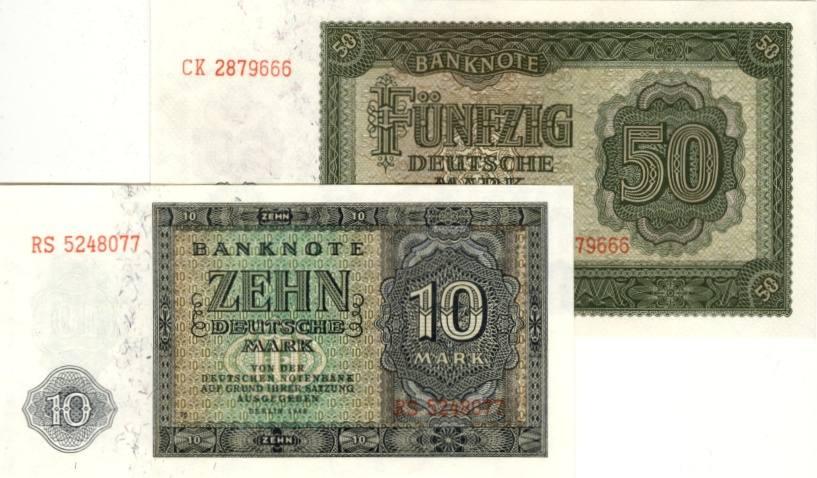 1948 Deutsche Notenbank 1948-1964 Lot: DDR 2x Banknote 10 + 50 DEUTSCHE MARK 1948 I BANKFRISCH