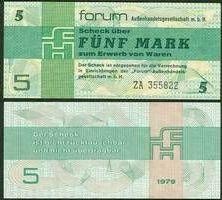 1979 Forum Außenhandelsgesellschaft, Sonstige DDR: Forum-Scheck 5 MARK 1979 Ro.369b Ersatznote I