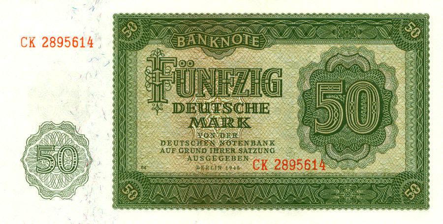 1948 Deutsche Notenbank 1948-1964 DDR: 50 DEUTSCHE MARK 1948 Ro.345b I BANKFRISCH
