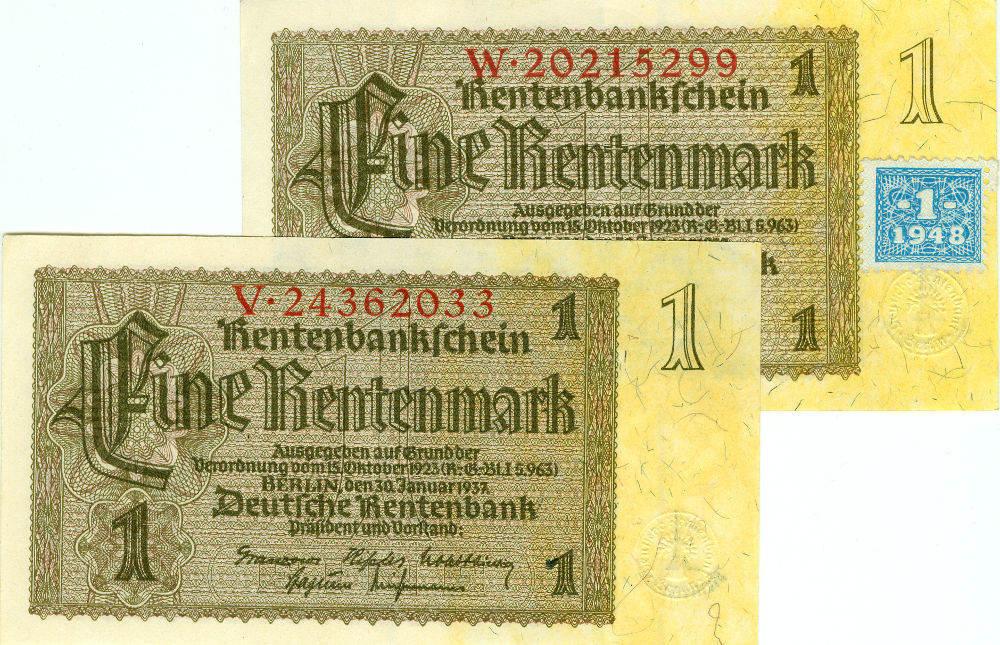 1948 Deutsche Notenbank 1948-1964 Lot: DDR 2x Banknote 1 MARK 1948 ohne/mit Kupon I-II I-II