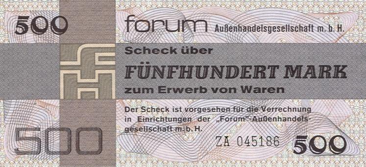 1979 Forum Außenhandelsgesellschaft, Sonstige DDR: Forum-Scheck 500 MARK 1979 Ro.373b Ersatznote I