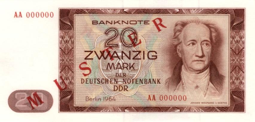 1964 Deutsche Notenbank 1948-1964 DDR: 20 MARK 1964 Ro.356 M1 Musternote I BANKFRISCH