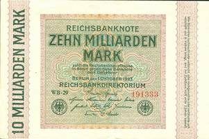 1923 Geldscheine Inflation 1919-1924 10 MILLIARDEN MARK 1923 Ro.114c II- II-