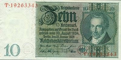 1929 Drittes Reich, Reichsbank 10 REICHSMARK 1929 Ro.173a Friedensdruck I selten