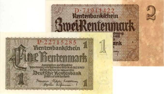 1937 Drittes Reich, Reichsbank Lot: Deutsche Rentenbank 2x 1 + 2 RENTENMARK 1937 I BANKFRISCH ERHALTEN!