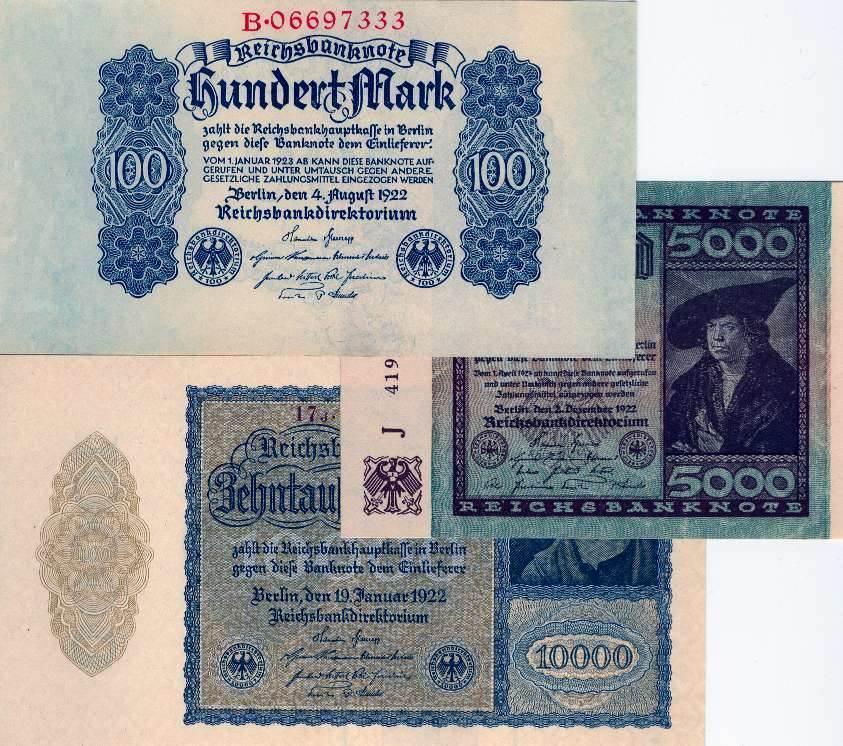 1922 Geldscheine Inflation 1919-1924 Lot: Deutsche Reichsbank 3x 100 5000 10000 Mark 1922 II+,