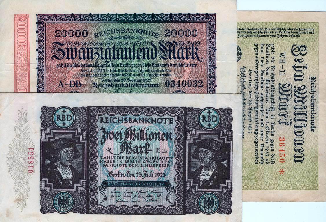 1923 Geldscheine Inflation 1919-1924 Lot: Deutsche Reichsbank 3x Inflation III 1923 Alle um III