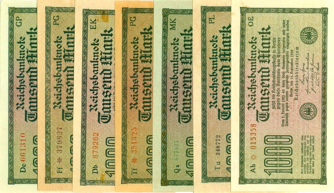 1922 Geldscheine Inflation 1919-1924 Lot: Deutsche Reichsbank 7x 1000 Mark Ro.75 1922 Alle BANKFRISCH bzw. FAST BANKFRISCH erhalten!