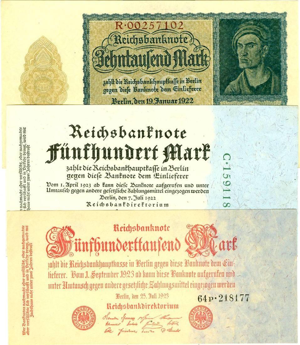 1922-1923 Geldscheine Inflation 1919-1924 Lot: Deutsche Reichsbank 3x Inflation I- [1922-1923] Alle fast bankfrisch