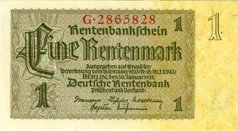 1937 Drittes Reich, Reichsbank 1 RENTENMARK 1937 Ro.166a I- selten fast BANKFRISCH