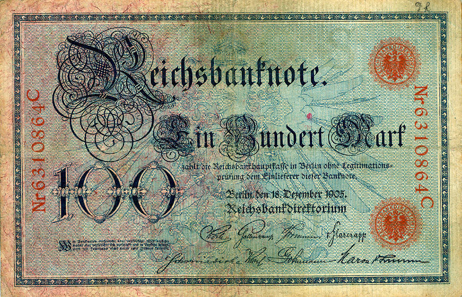 1905 Geldscheine Inflation 1919-1924 100 MARK 1905 Ro.23b III III
