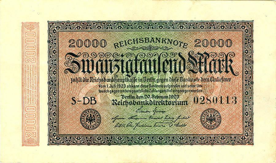 1923 Geldscheine Inflation 1919-1924 20.000 MARK 1923 Ro.84f II II