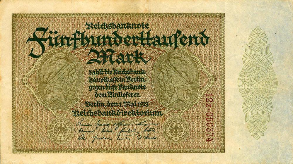 1923 Geldscheine Inflation 1919-1924 500.000 MARK 1923 Ro.87g III+ III+