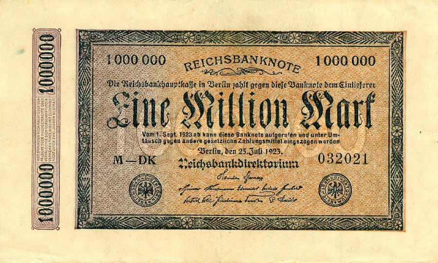 1923 Geldscheine Inflation 1919-1924 1.000.000 MARK 1923 Ro.93 III+ III+