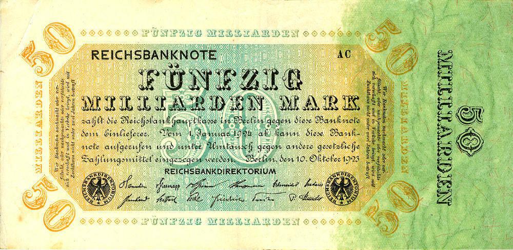 1923 Geldscheine Inflation 1919-1924 50.000.000.000 MARK 1923 Ro.116c II- II-