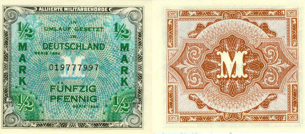 1944 Deutschland unter alliierter Besatzung 1945-1949 Alliierte Besatzung 1/2 MARK 1944 Ro.200a I BANKFRISCH erhalten!