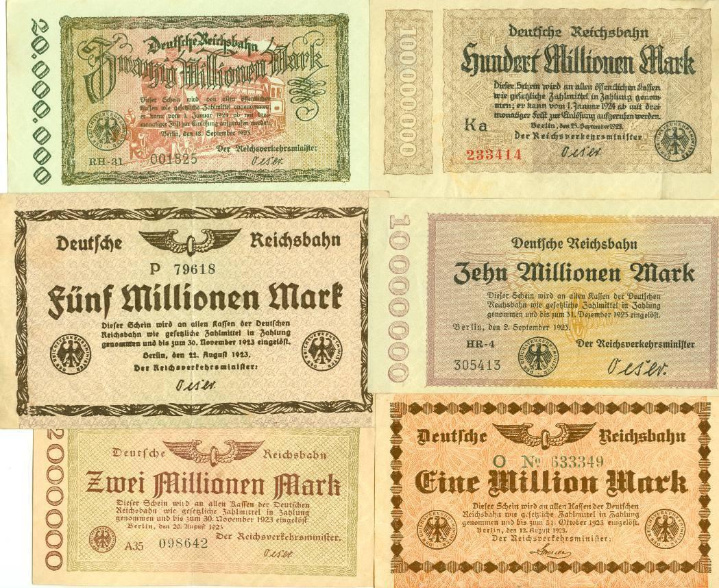 1923 Notgeldscheine Lot: Notgeld Inflation 6x Deutsche Reichsbahn II [1923]