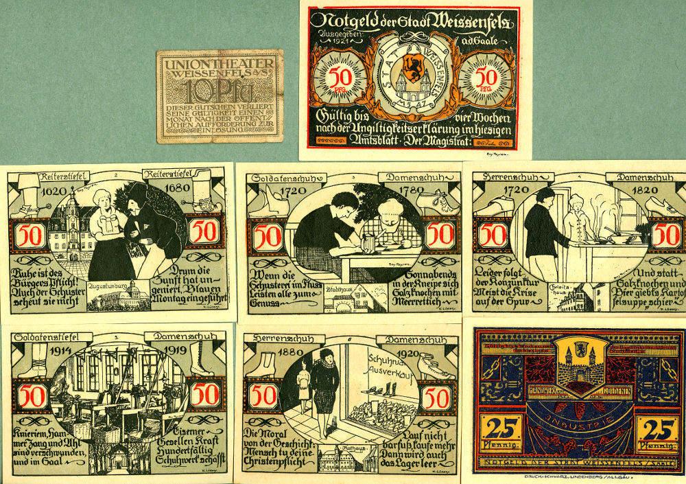 1921 Notgeldscheine Lot: Notgeld Serienscheine 8x WEISSENFELS I- [1921] III