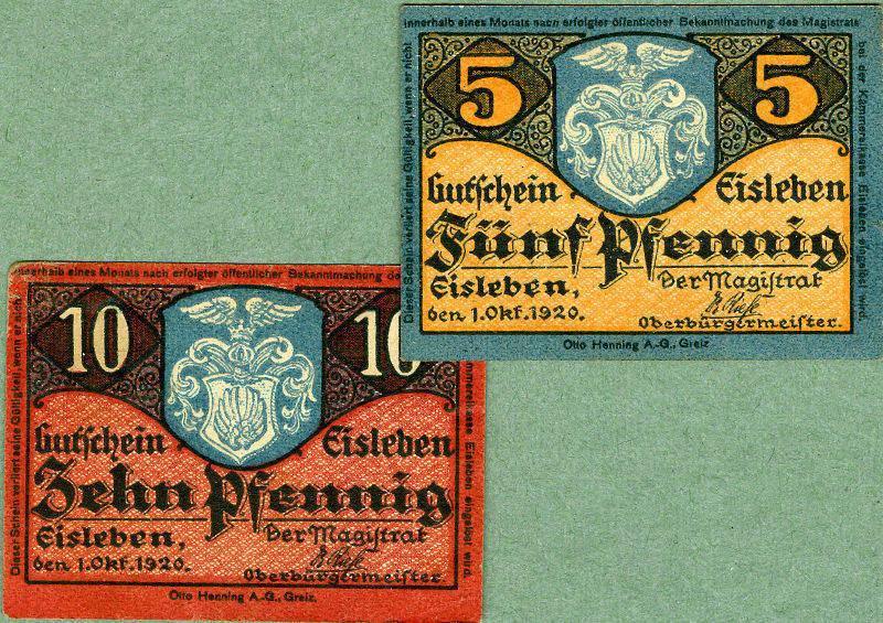 1920 Notgeldscheine Lot: Notgeld Serienscheine 2x EISLEBEN I-II [1920] I-II