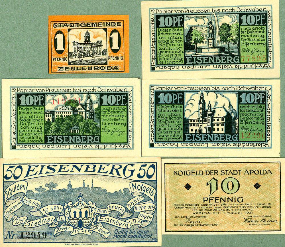 1920-1921 Notgeldscheine Lot: Notgeld Serienscheine 6x THÜRINGEN I- [1920-1921] I-