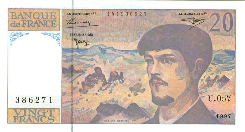 1997 Frankreich FRANKREICH 20 Francs 1997 #151i I BANKFRISCH