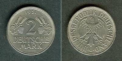 1951 BRD Deutschland BRD 2 DM 1951 G vz+/f.stgl. selten! vz+/fast stgl.!