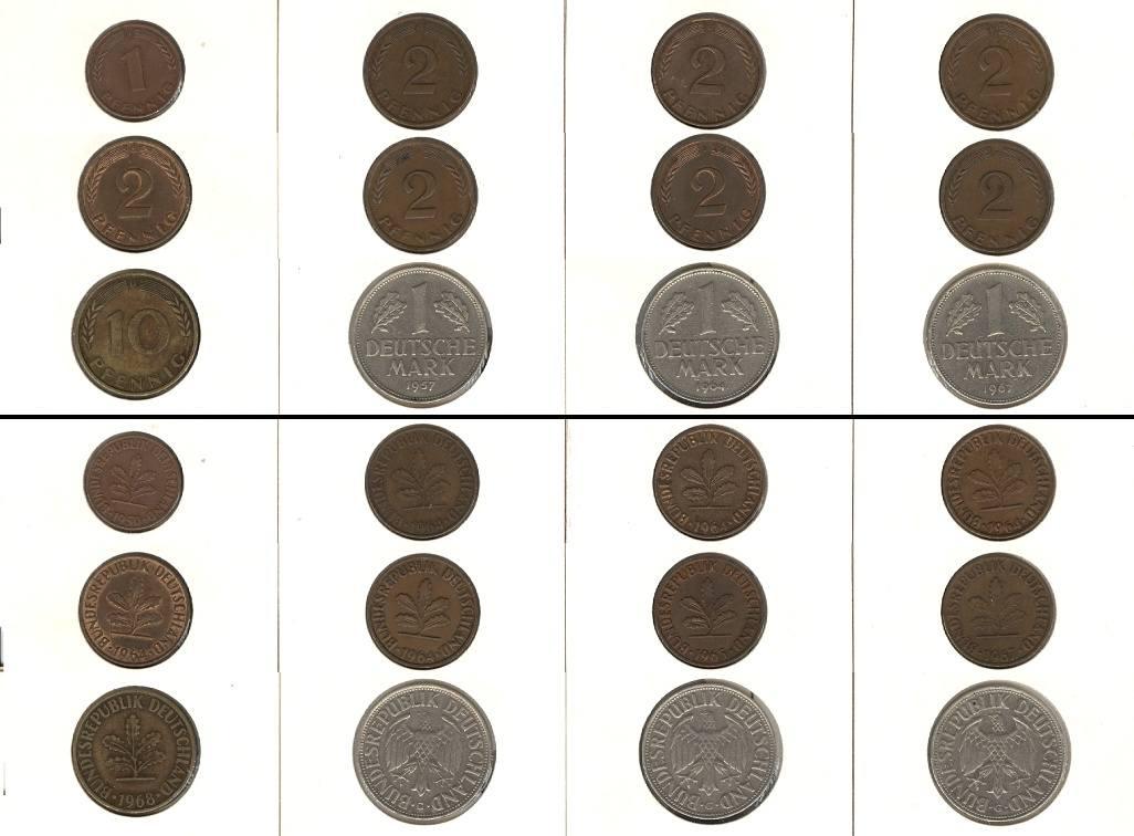 1950-1968 BRD Lot: BRD 12x 1 Pfennig - 1 DM [1950-1968]