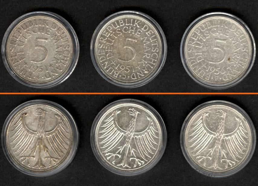 1951 1956 Brd Lot Brd 3x 5 Dm Münzen Silber 1951 1956 Ma Shops