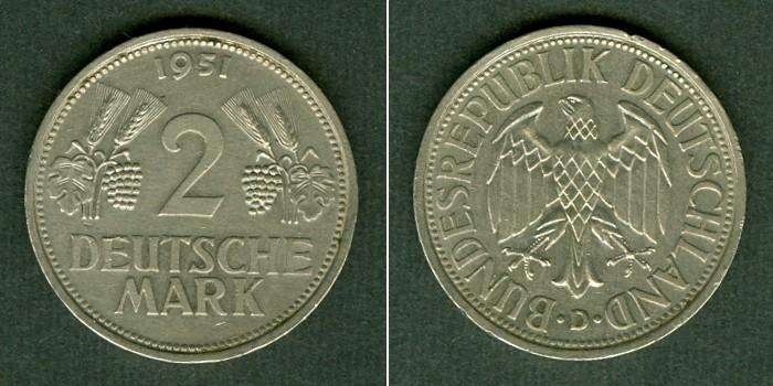 1951 BRD Deutschland BRD 2 DM 1951 D vz-stgl. selten vz-st