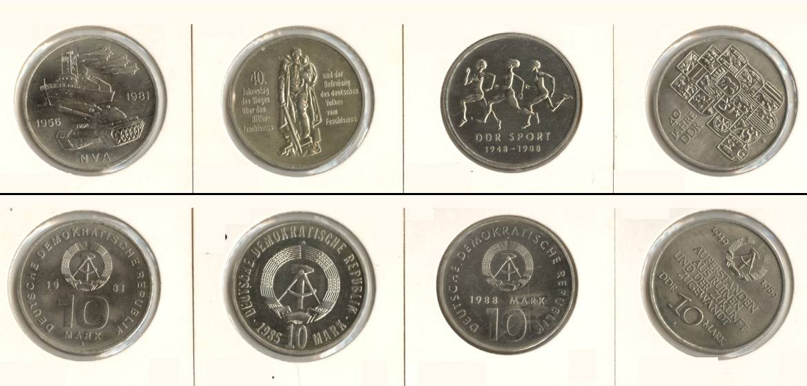1981-1989 DDR Lot: DDR 4x 10 Mark Gedenkmünzen vz-st [1981-1989] vz-stgl.
