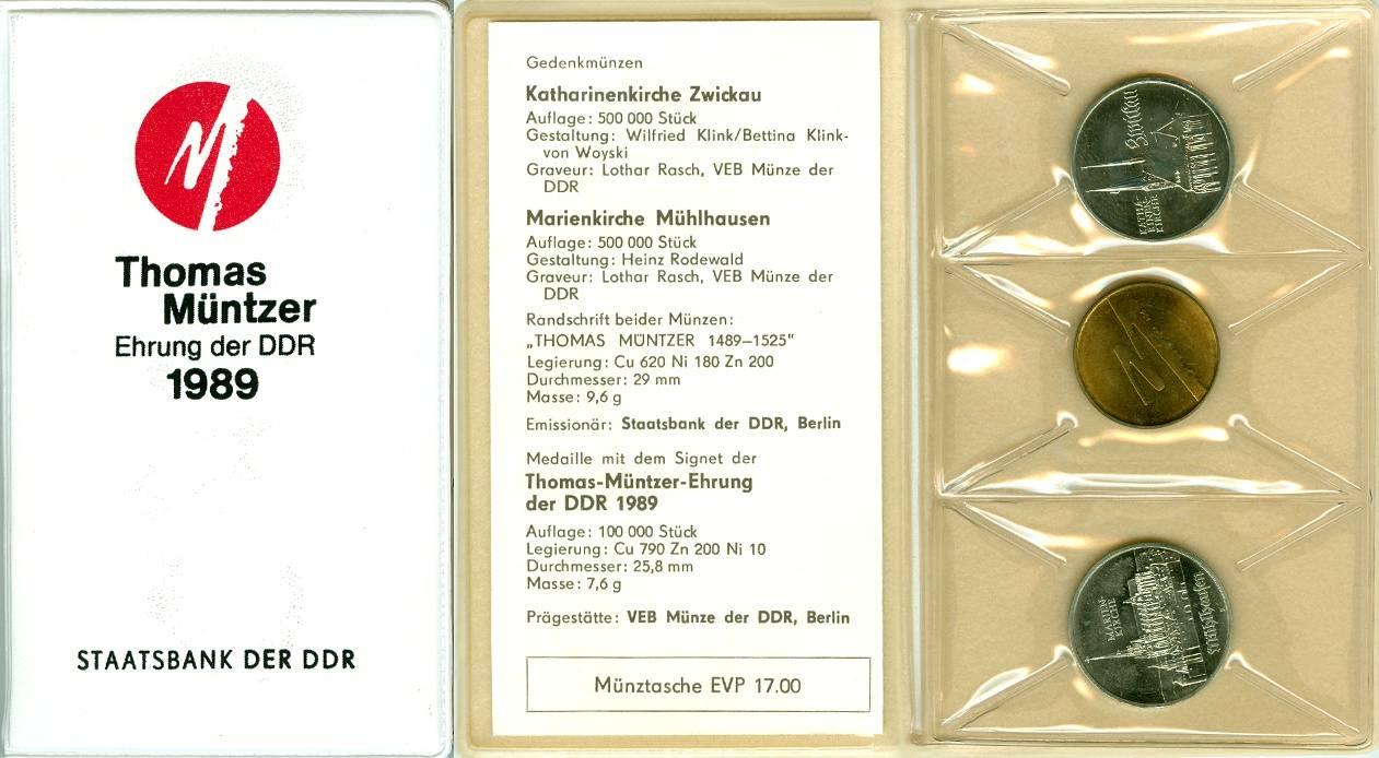 1989 Ddr Deutschland Ddr 2x 5m Medaille 1989 Thomas Müntzer Ehrung