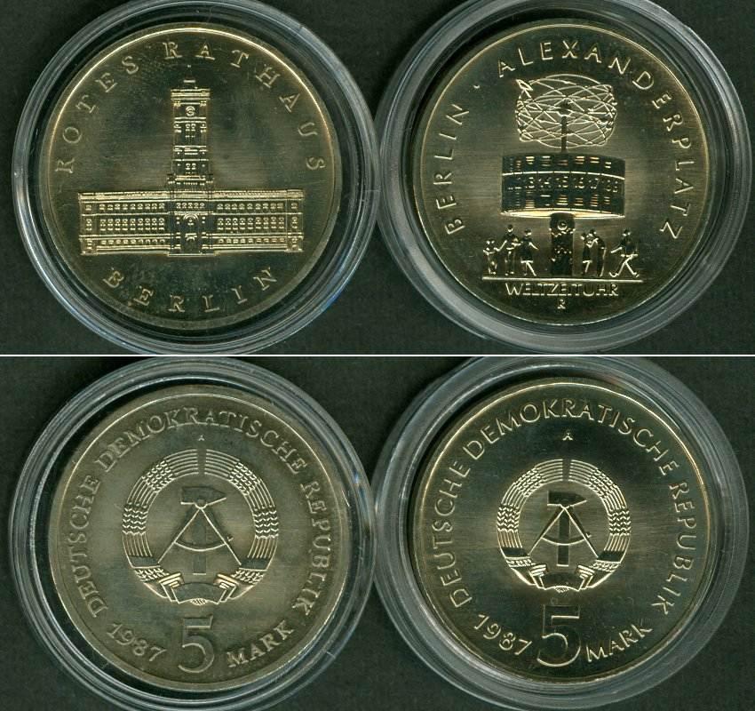 1987 DDR Lot: DDR 2x 5 Mark Gedenkmünzen BERLIN 1987 st ST
