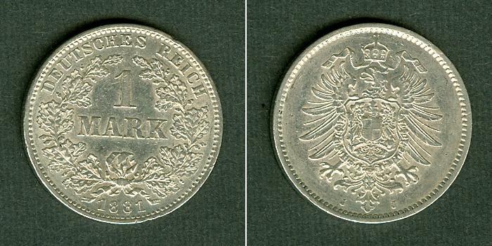 1881 Kleinmünzen 1 Mark Deutsches Reich 1 Mark 1881 J (J.9) f.vz fast vz