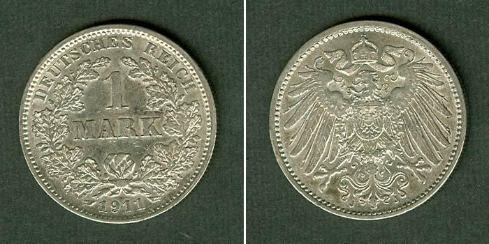 1911 Kleinmünzen 1 Mark Deutsches Reich 1 Mark 1911 J (J.17) f.vz fast vz