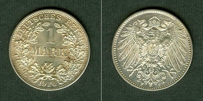 1914 Kleinmünzen 1 Mark Deutsches Reich 1 Mark 1914 F f.stgl. PRACHT fast stgl.!