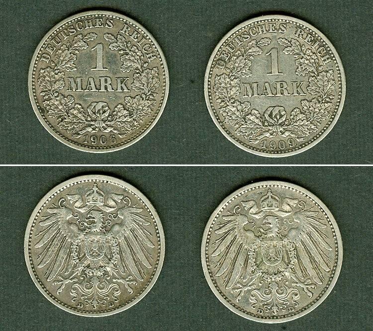 1906-1909 Kleinmünzen 1 Mark Lot: DEUTSCHES REICH 2x Silber 1 Mark [1906-1909] ss+