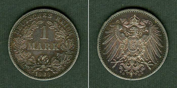 1909 Kleinmünzen 1 Mark Deutsches Reich 1 Mark 1909 G (J.17) f.vz fast vz