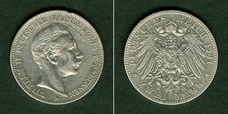 1901 Preußen Preussen 2 Mark 1901 A ss+ selten ss+