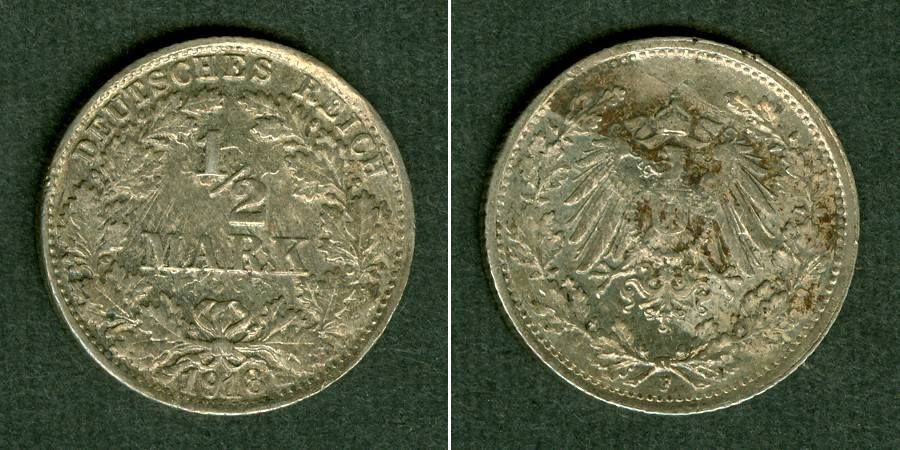 1918 Kleinmünzen 1/2 Mark Deutsches Reich 1/2 Mark 1918 F vz VERPRÄGUNG vz