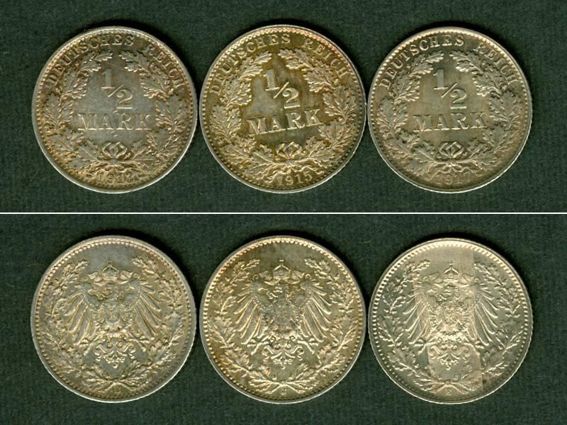1913-1917 Kleinmünzen 1/2 Mark Lot: DEUTSCHES REICH 3x Silber 1/2 Mark vz-st [1913-1917] vz-st