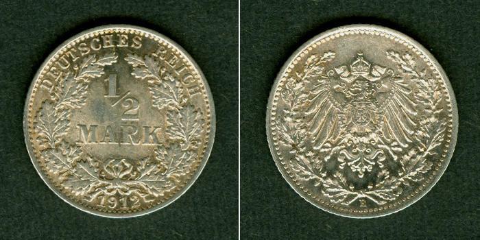 1912 Kleinmünzen 1/2 Mark Deutsches Reich 1/2 Mark 1912 E vz-st selten vz-stgl.!