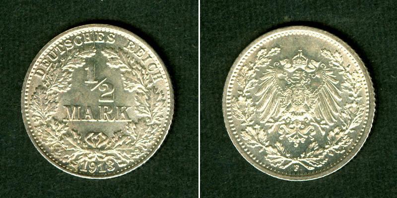 1913 Kleinmünzen 1/2 Mark Deutsches Reich 1/2 Mark 1913 F f.st fast stgl.