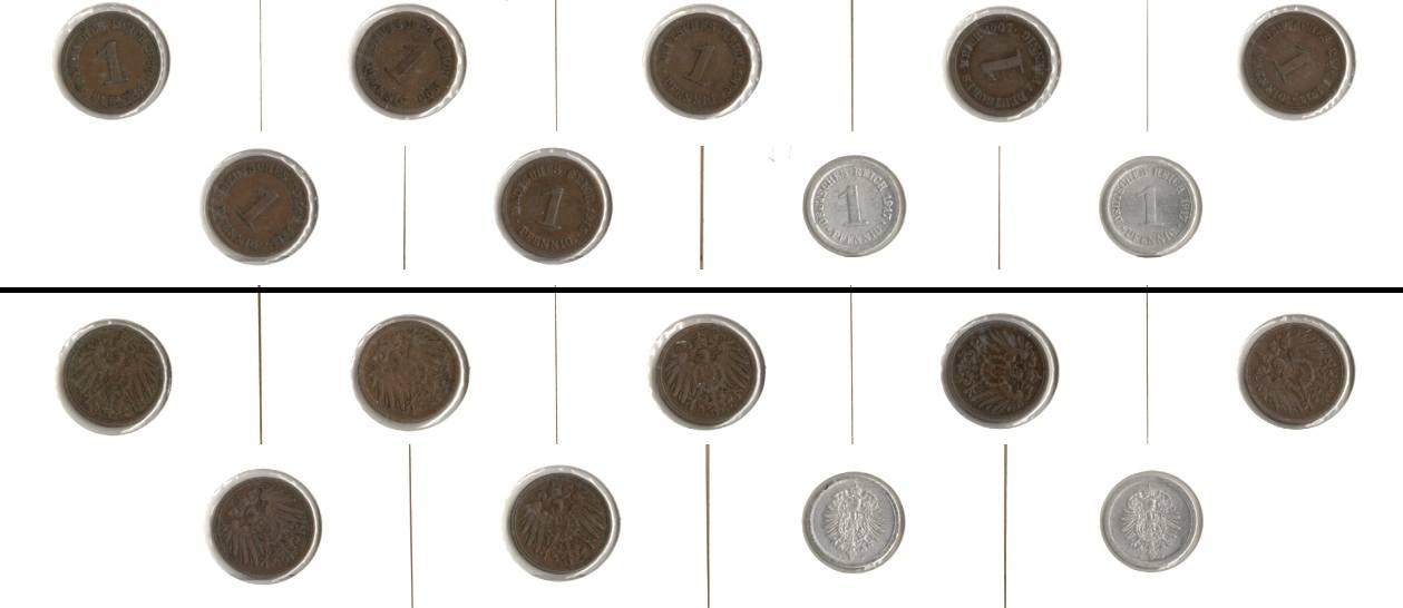 1899-1917 Kleinmünzen 1 Pfennig Lot: DEUTSCHES REICH 9x 1 Pfennig [1899-1917] wie angegeben, sonst um ss bis ss-vz