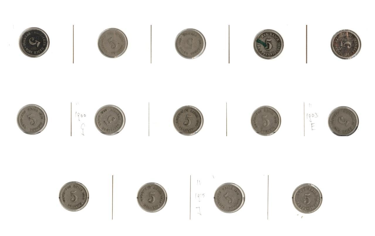 1875-1915 Kleinmünzen 5 Pfennig Lot: DEUTSCHES REICH 14x 5 Pfennig [1875-1915] wie angegeben, sonst um ss+