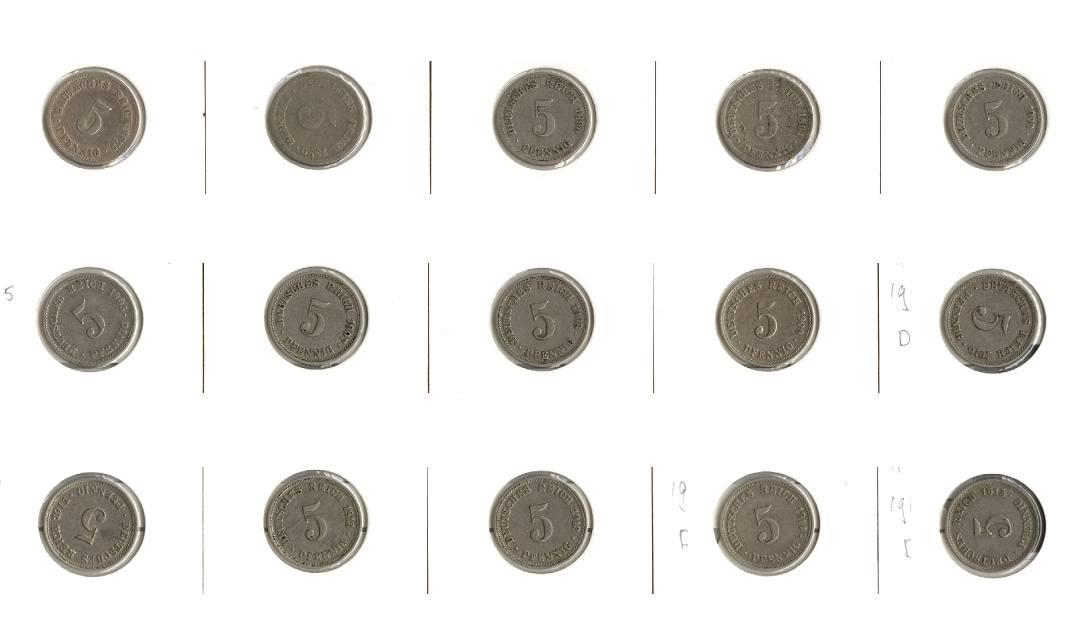 1875-1915 Kleinmünzen 5 Pfennig Lot: DEUTSCHES REICH 15x 5 Pfennig [1875-1915] 1889 D s+, sonst ss oder besser