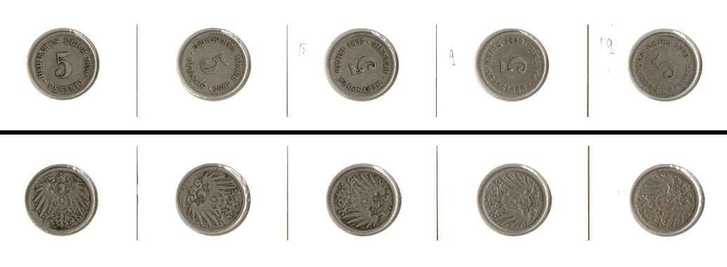 1890 1909 Kleinmünzen 5 Pfennig Lot Deutsches Reich 5x 5 Pfennig