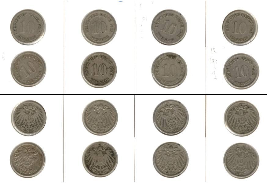 1891-1908 Kleinmünzen 10 Pfennig Lot: DEUTSCHES REICH 8x 10 Pfennig [1891-1908]