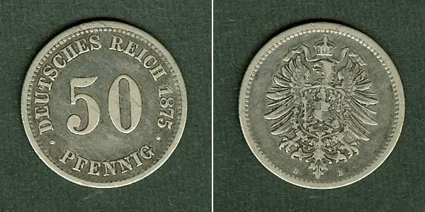 1875 Kleinmünzen 50 Pfennig DEUTSCHES REICH 50 Pfennig 1875 B ss ss
