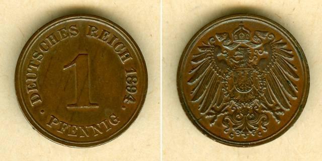 1894 Kleinmünzen 1 Pfennig DEUTSCHES REICH 1 Pfennig 1894 G vz/vz-stgl. selten vz/vz-st
