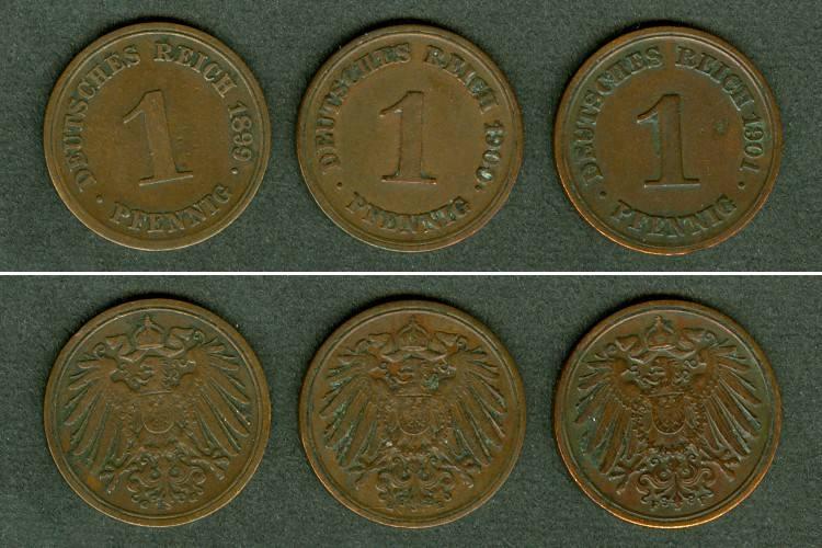 1899-1901 Kleinmünzen 1 Pfennig Lot: DEUTSCHES REICH 3x 1 Pfennig ss+ [1899-1901] Alle ss+
